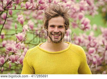 Springtime Concept. Man Flowers Background Defocused. Spring Beauty. Spring Season. Botany And Natur