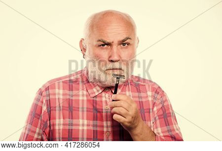 Barbershop Concept. Shaving Accessories. Cut And Brush Hair. Mature Bearded Man Isolated On White. U