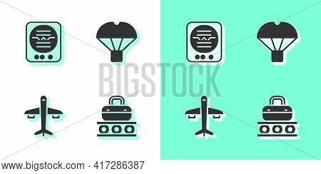 Set Conveyor Belt With Suitcase, Attitude Indicator, Plane And Box Flying Parachute Icon. Vector