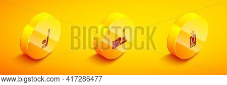 Set Isometric Ice Hockey Stick And Puck, Shovel In Snowdrift And Identification Badge Icon. Vector
