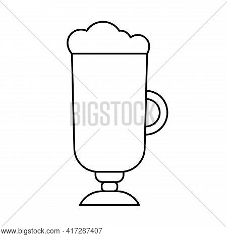 Irish Coffee Outline Icon. Linear Symbol Of Hot Drinks And Coffee. Glass With Frappe Or Latte Macchi