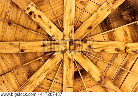 Abstract Background Of Wooden Roof Of Summerhouse