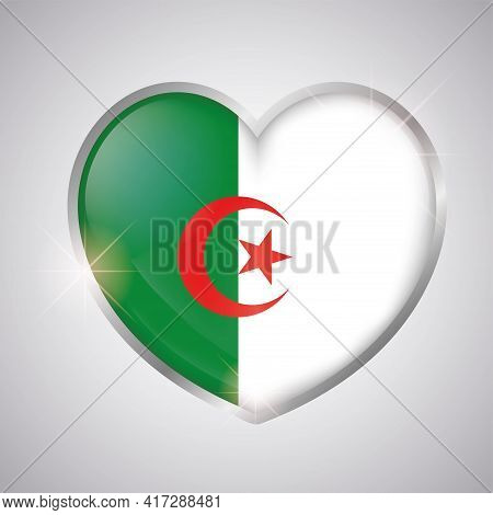 Isolated Heart Shape With The Flag Of Algeria - Vector Illustration