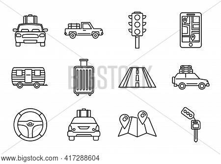 Road Car Trip Icons Set. Outline Set Of Road Car Trip Vector Icons For Web Design Isolated On White