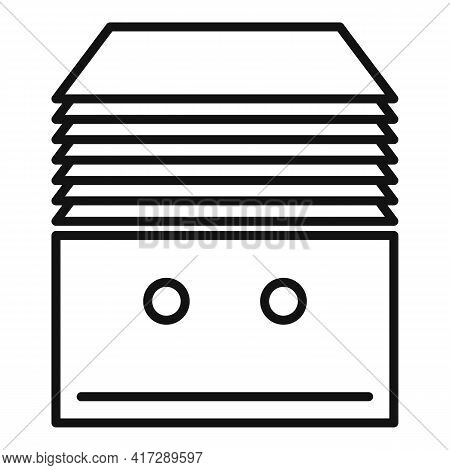 Stack Documents Icon. Outline Stack Documents Vector Icon For Web Design Isolated On White Backgroun