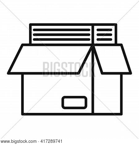 Full Documents Box Icon. Outline Full Documents Box Vector Icon For Web Design Isolated On White Bac