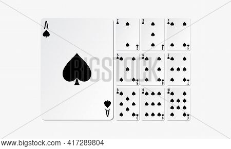 Spades Playing Cards. Set Card Game Design Vector.
