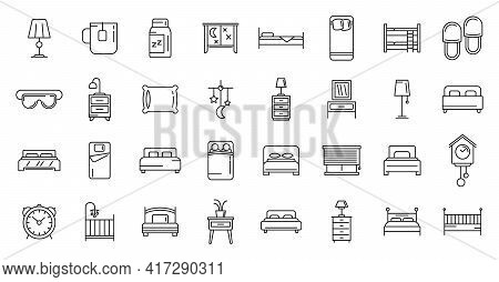 Bedroom Icons Set. Outline Set Of Bedroom Vector Icons For Web Design Isolated On White Background