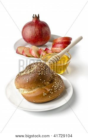 Still Life - Challah, Apples, Pomegranate And Bowl Of Honey