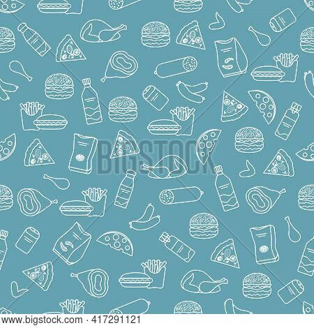 Vector Food Seamless Pattern Illustration Cooking Fast Food Snack Picnic Harmful Eating Habits Unhea