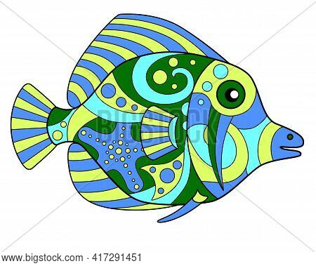 Tropical Fish - Vector Linear Color Illustration. Fish From A Coral Reef In The Ocean - Multicolored
