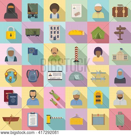 Illegal Immigrants Icons Set. Flat Set Of Illegal Immigrants Vector Icons For Web Design