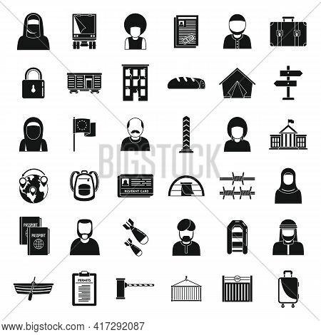 Global Illegal Immigrants Icons Set. Simple Set Of Global Illegal Immigrants Vector Icons For Web De