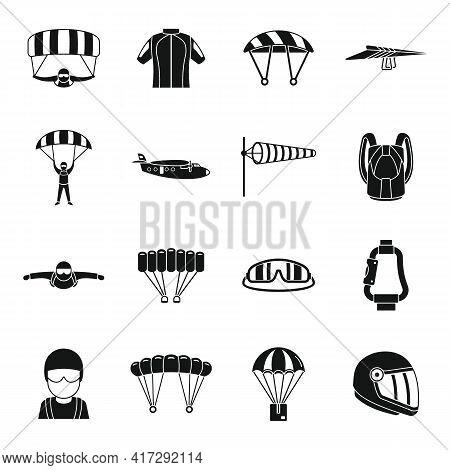 Adventure Parachuting Icons Set. Simple Set Of Adventure Parachuting Vector Icons For Web Design On