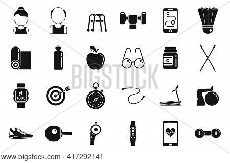 Sport Workout Seniors Icons Set. Simple Set Of Sport Workout Seniors Vector Icons For Web Design On