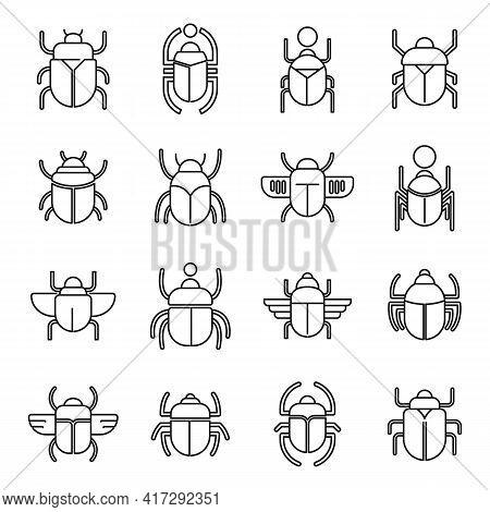 Egypt Scarab Beetle Icons Set. Outline Set Of Egypt Scarab Beetle Vector Icons For Web Design Isolat