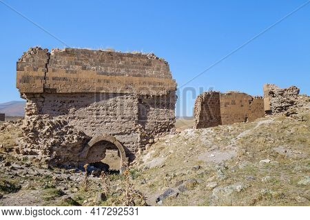Remains Of Outer Gates & Walls Of Medieval Armenian City Ani, Near Kars, Turkey. City Was Founded In