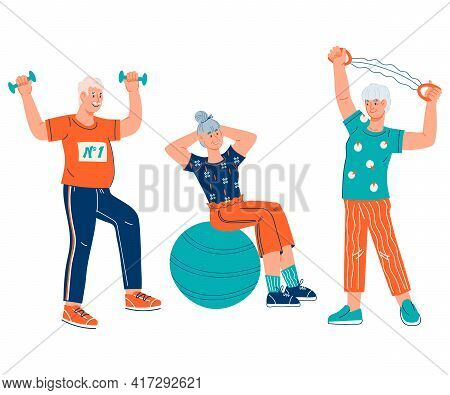 Group Of Elderly People Keep Fit Through Gymnastic Exercises, Cartoon Flat Vector Illustration Isola