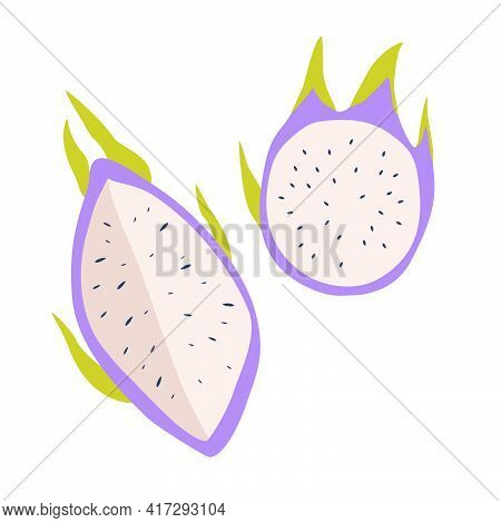 Dragon Fruit Icon. Half Of The Cut Fruit. Flat Illustration Of Dragon Fruit Vector Icon Isolated On