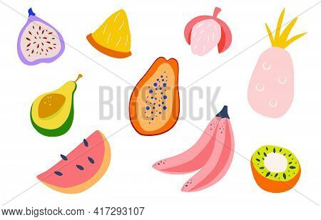 Set Of Doodle Tropical Fruits. Natural Tropical Fruit, Papaya, Pineapple, Banana, Avocado, Fig, Lych