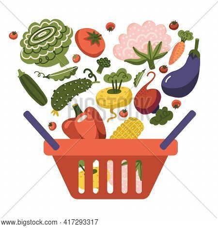 Plastic Red Supermarket Shopping Basket With Fresh And Natural Food. Vegetable Store, Organic Health