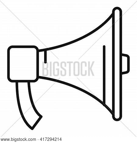 Gym Trainer Megaphone Icon. Outline Gym Trainer Megaphone Vector Icon For Web Design Isolated On Whi
