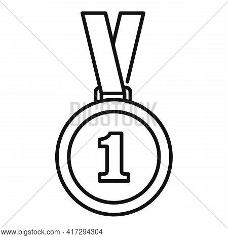 Trainer Gold Medal Icon. Outline Trainer Gold Medal Vector Icon For Web Design Isolated On White Bac
