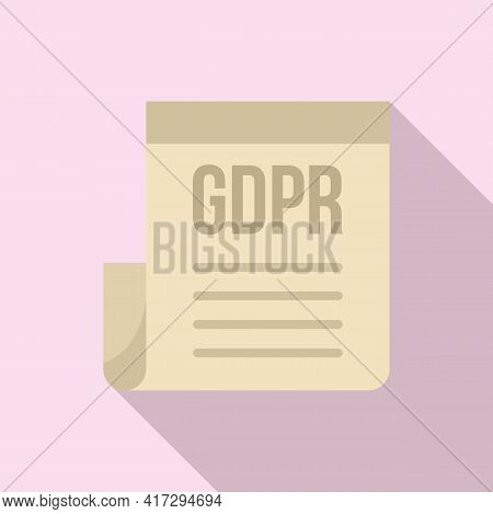 Gdpr Document Icon. Flat Illustration Of Gdpr Document Vector Icon For Web Design