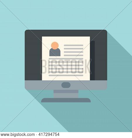 Computer Personal Information Icon. Flat Illustration Of Computer Personal Information Vector Icon F