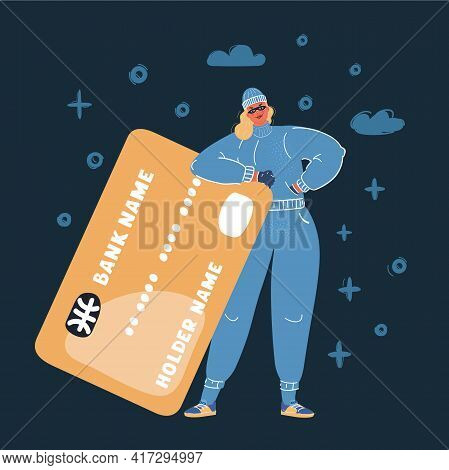 Cartoon Vector Illustration Of Woman Thief Stealing Credit Card On Dark Background