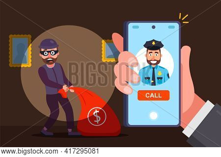 Catch An Apartment Robber By Surprise. Call The Police And Report The Crime. Flat Vector Illustratio