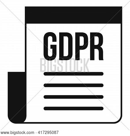 Gdpr Document Icon. Simple Illustration Of Gdpr Document Vector Icon For Web Design Isolated On Whit