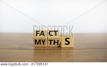 Facts Or Myths Symbol. Turned Cubes And Changed The Word 'myths' To 'facts'. Beautiful Wooden Table,
