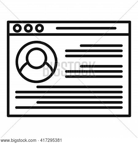 Personal Information Web Page Icon. Outline Personal Information Web Page Vector Icon For Web Design