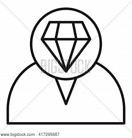 Diamond Personal Traits Icon. Outline Diamond Personal Traits Vector Icon For Web Design Isolated On