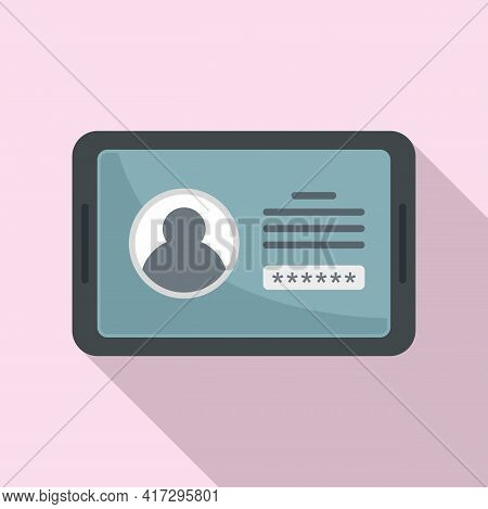 Tablet Authentication Icon. Flat Illustration Of Tablet Authentication Vector Icon For Web Design