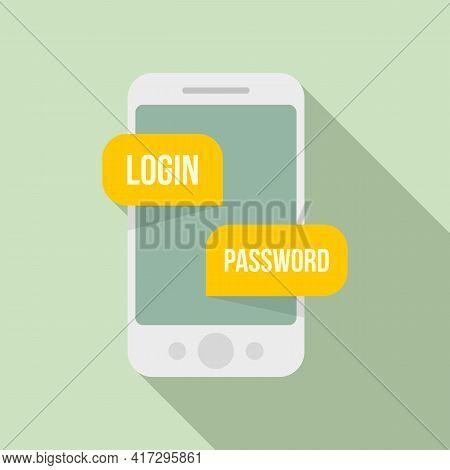 Phone Login Authentication Icon. Flat Illustration Of Phone Login Authentication Vector Icon For Web