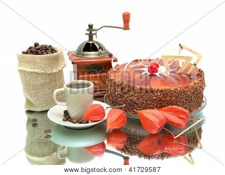 Cake, Coffee And Physalis On White Background With Reflection