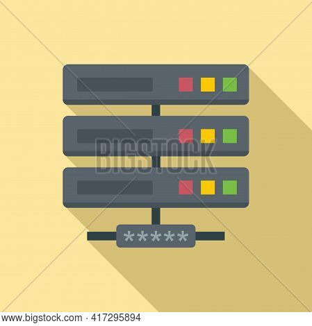 Server Network Authentication Icon. Flat Illustration Of Server Network Authentication Vector Icon F