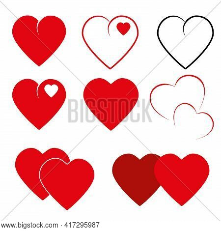 Set Of Hearts Icons Love Symbol Red And Black Love And Hate Isolated On White Background Vector Grap