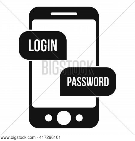Phone Login Authentication Icon. Simple Illustration Of Phone Login Authentication Vector Icon For W