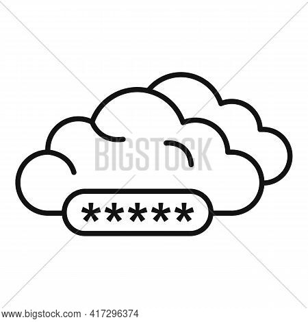 Cloud Authentication Icon. Outline Cloud Authentication Vector Icon For Web Design Isolated On White