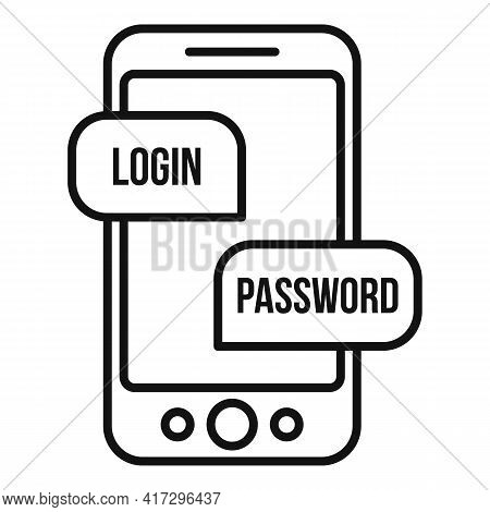 Phone Login Authentication Icon. Outline Phone Login Authentication Vector Icon For Web Design Isola