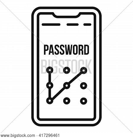 Phone Sign Authentication Icon. Outline Phone Sign Authentication Vector Icon For Web Design Isolate