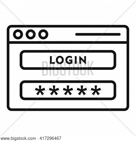 Login Page Authentication Icon. Outline Login Page Authentication Vector Icon For Web Design Isolate