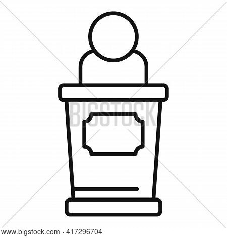 Empowerment Woman Speaker Icon. Outline Empowerment Woman Speaker Vector Icon For Web Design Isolate
