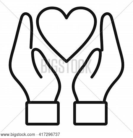 Keep Heart Icon. Outline Keep Heart Vector Icon For Web Design Isolated On White Background