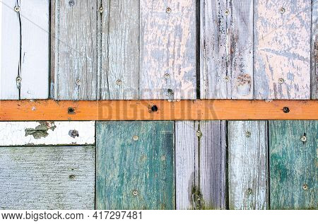 Weathered Old Wooden Wall Design With Faded Paint