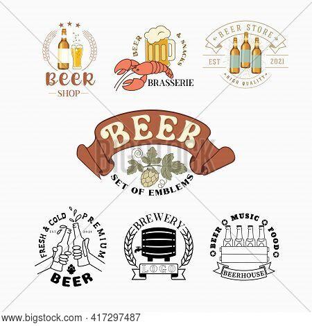 Logo Of Beer, Beer Shop, Pub, Beer Restaurant. Vector Emblem Set