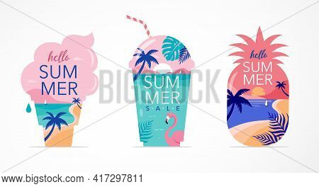 Summer Time Fun Concept Design. Creative Background Of Landscape, Panorama Of Sea And Beach On Pinea